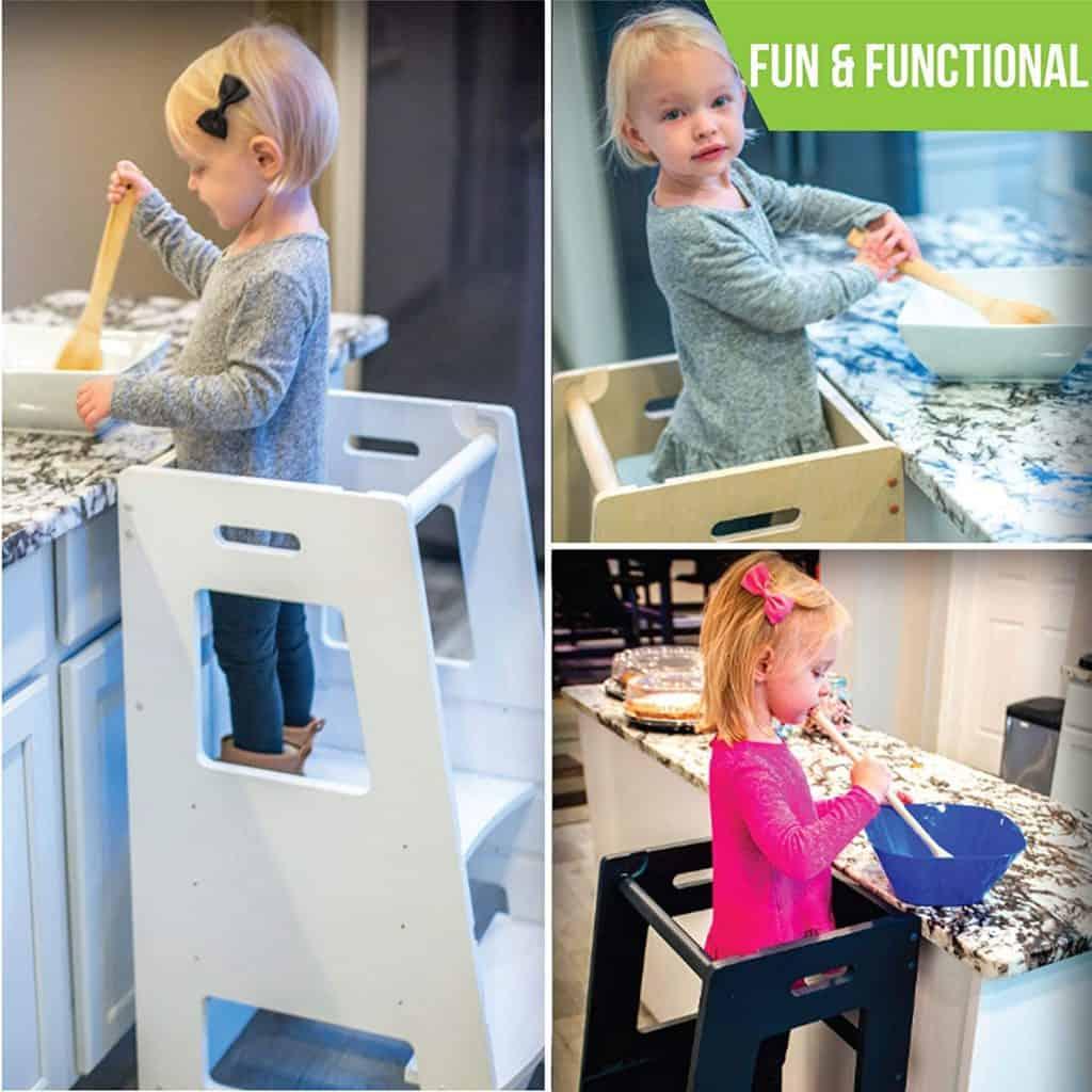 Guidecraft Classic Kitchen Helper Stool-6
