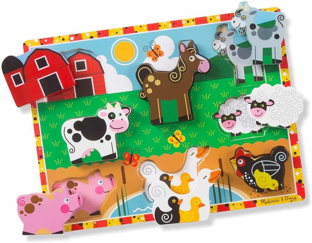 Melissa & Doug Farm Chunky Puzzle wooden puzzles